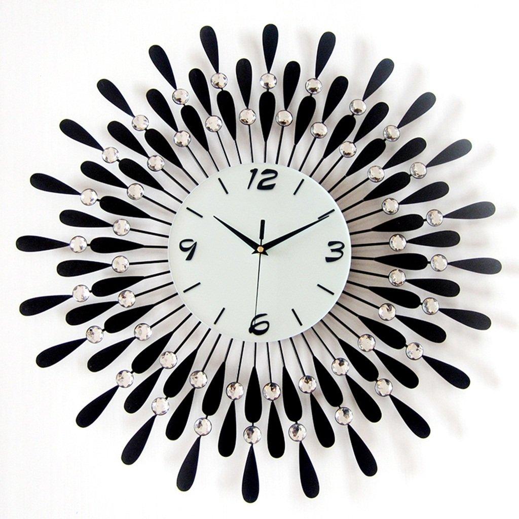 ホーム&時計 60cmクリアDiamanteビーズジュエリー黒ひまわりの金属スパイクウォールクロック ( 色 : B ) B07BK5TM9G B B