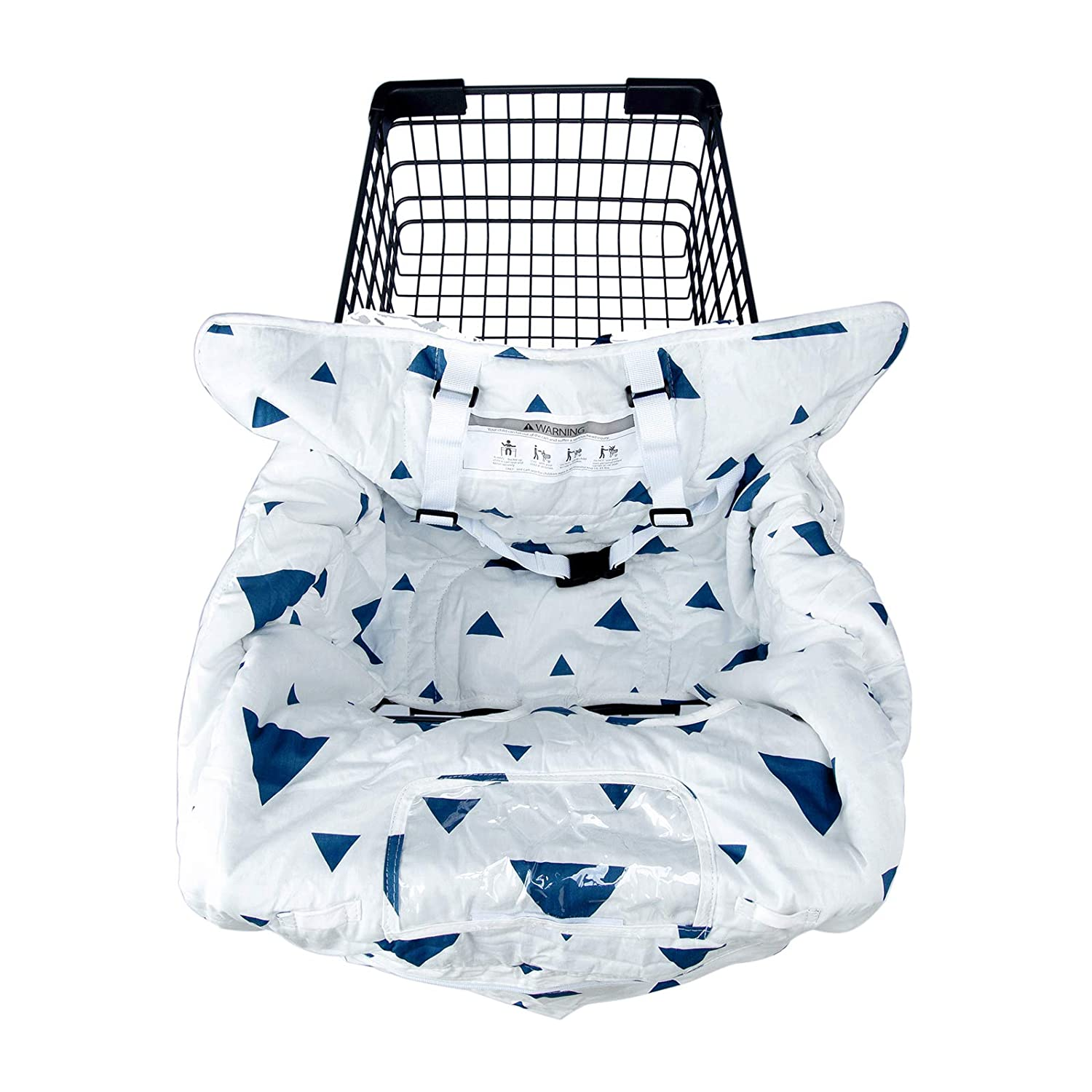2-in-1 Shopping Cart Cover for Baby, Machine Washable Cotton High Chair Cover, Large Fits Most Shopping carts, with 6.5