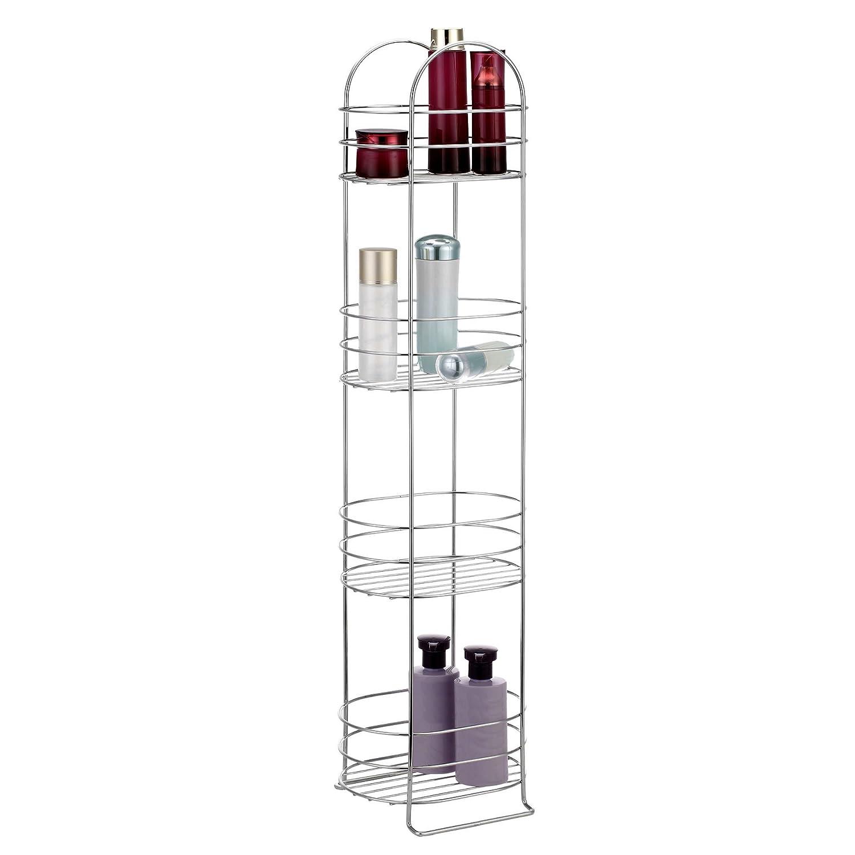 amazoncom vonhaus 4 tier chrome bathroom storage organizer stand space saver floor shelf rack for bathroom accessories home u0026 kitchen