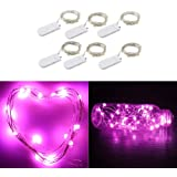 6 Packs 2M 20 LEDs Micro Fairy String Lights CR2032 Battery Powered (Included) Outdoor Copper Wire Light for DIY Wedding Party Christmas Table Decorations (Purple)