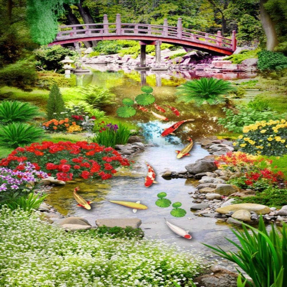 rylryl Jardín personalizado 3D planta plantas flores peces de colores puente de madera Árboles centro comercial hall piso Papel pintado autoadhesivo mural-100x70cm: Amazon.es: Bricolaje y herramientas
