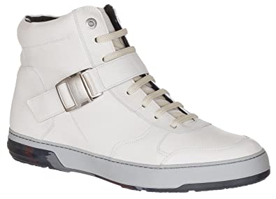 ef0a473f07 Salvatore Ferragamo Men s Off-White Leather Zip Buckle Mulberry High Top  Sneakers Shoes