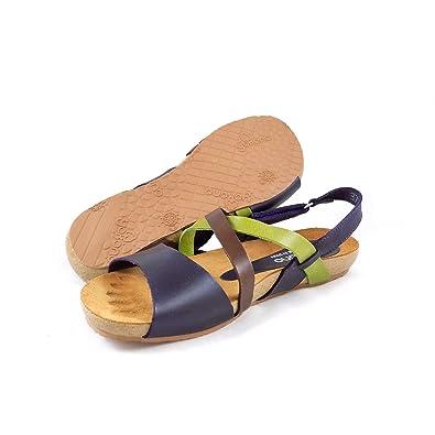d9fa11c9d Women s Yokono Ibiza 093 Flat Sandal with Cross Over Straps EU 39   UK 6  Purple Green Brown  Amazon.co.uk  Shoes   Bags