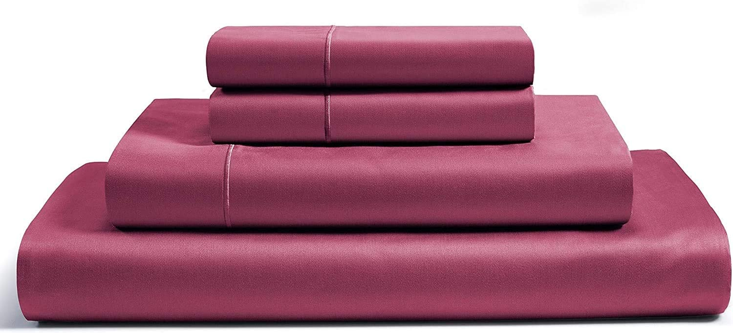 """CHATEAU HOME COLLECTION 100% Egyptian Cotton Sheets Full Size, 800 Thread Count Burgundy 4 Piece Sheet Set, Solid Sateen Weave, 16"""" Deep Pocket (Fits Upto 18"""" Mattress) Long Staple Cotton Bedsheet Set"""