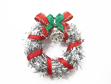 dollhouse miniature christmas decoration silver wreath holly supply deco charms 7211