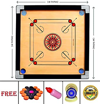 AIWS Carrom Engineered Wood Gloss Finish Carrom Board with Coins and Special Striker and Powder 2 inch Border (SMALL-20 Inch) 3 MM Ply
