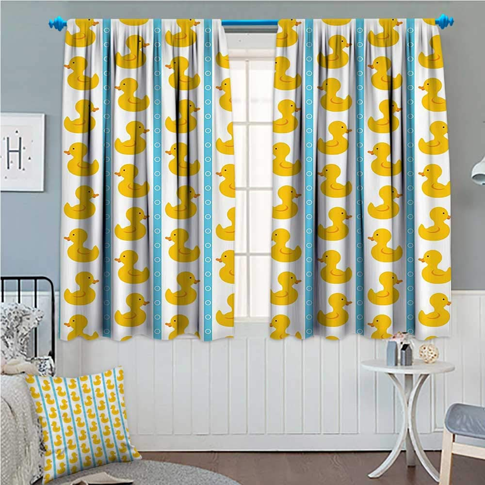 zojihouse Rubber Duck Decor Curtains by Yellow Duckies with Blue Stripes and Small Circles Baby Nursery Play Toys Pattern Yellow and Blue 72''x84''