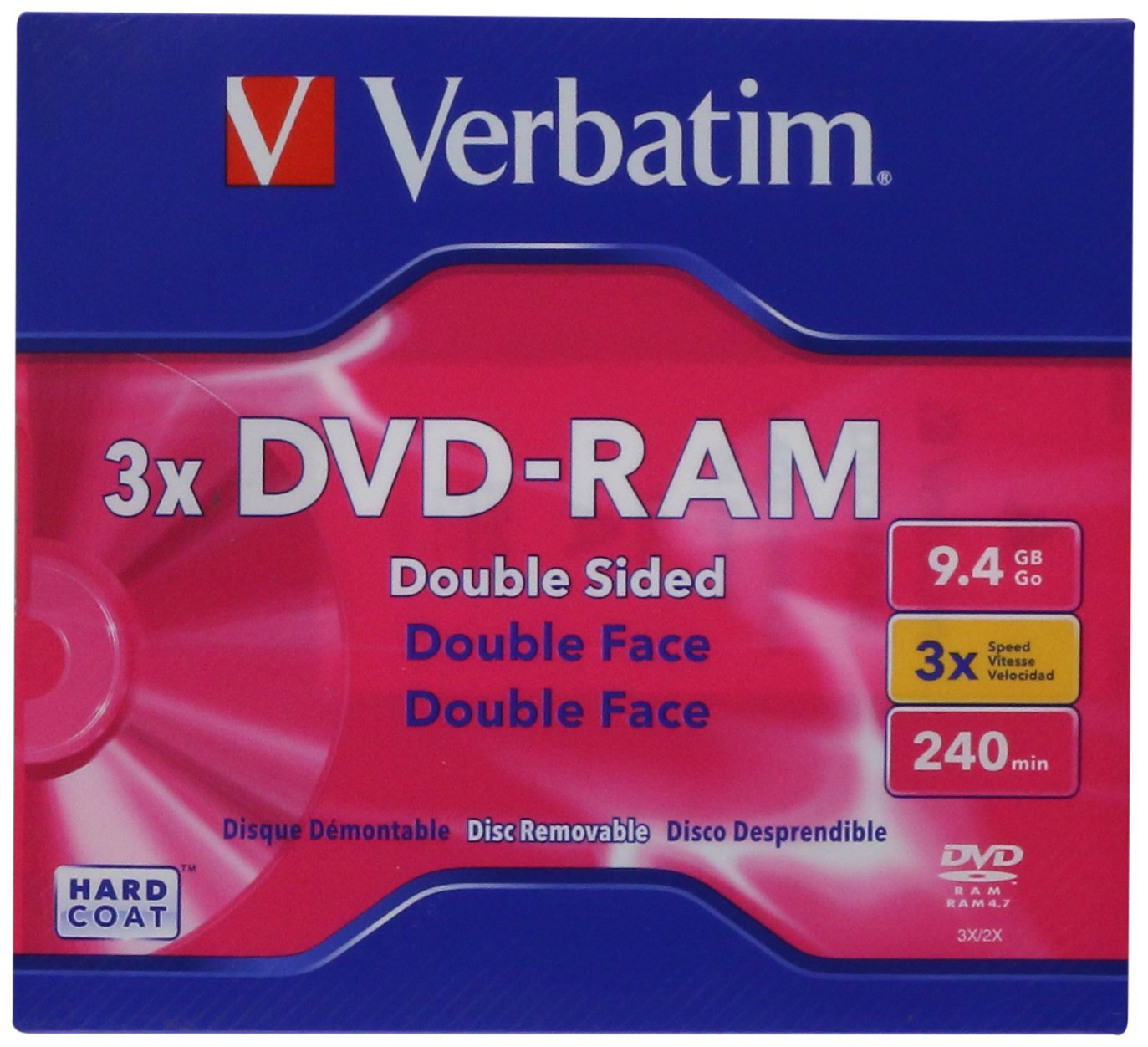 Verbatim DVD-RAM 9.4GB 3X Double Sided, Type 4 with Branded Surface - 1pk with Cartridge