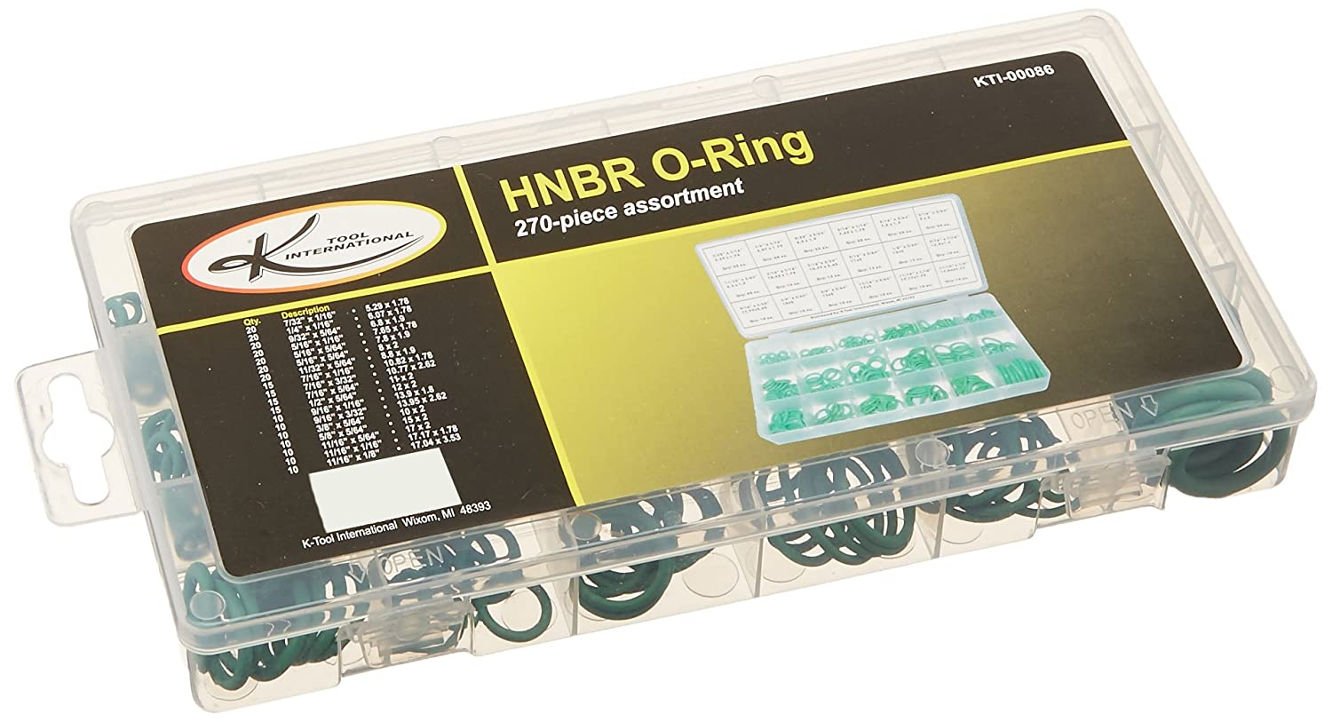 K-Tool Corporation 270 Piece HNBR O-Ring Assortment K Tool International KTI00086