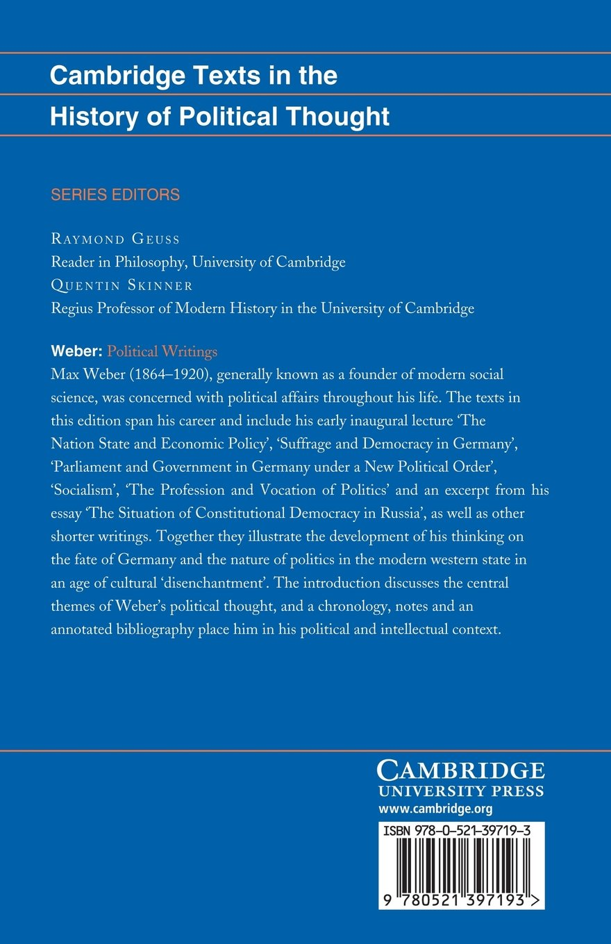 Weber: Political Writings (Cambridge Texts in the History of Political  Thought): Amazon.co.uk: Max Weber: 9780521397193: Books