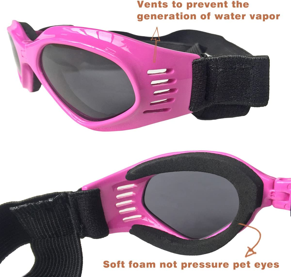 Stylish Dog Sunglasses for UV Stop Waterproof Windproof Anti-Fog Eye Protection Petleso Pet Goggles