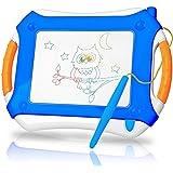 TTMOW Verdicktes Zaubertafel Kinder Maltafel für Kinder ab 2 ab 3 mit Magnetische Stempel, Lerntafel Reißbrett Kindergeschenk, Hinzugefügter Bereich für Malerei (Blau)