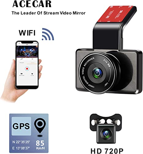 ACECAR Dual Camera Dash Cam Front and Rear with Night Vision 1080p FHD LCD Screen 150 Wide Angle, Parking Monitor, Loop Recording, WDR Wide Angle Lens, Wi-Fi, G-Sensor, GPS,Motion Detection