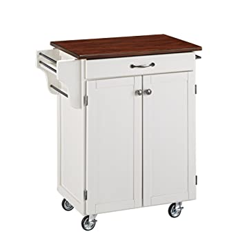 Create-a-Cart White 2 Door Kitchen Cart with Cherry Top by Home Styles