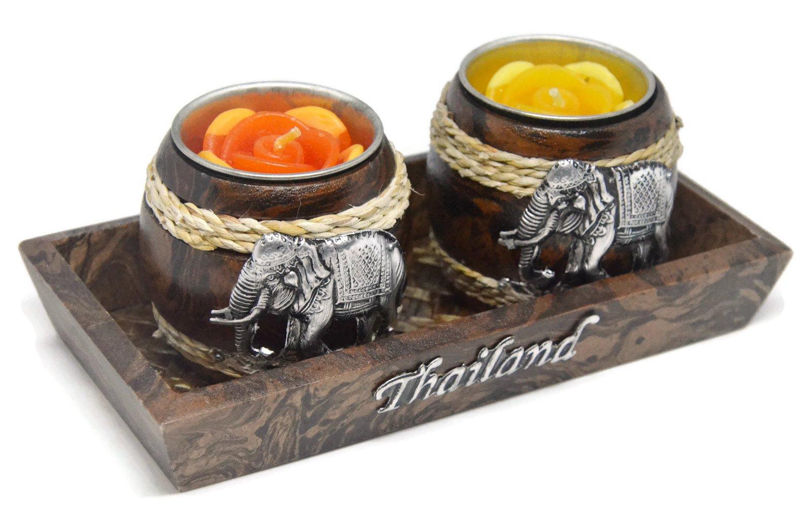 NaCraftTH Candle Holder Set Wood Thai Elephants Metal Carved Handicraft Artwork Dining Room Spa Restaurant Decor Antique Style (3)