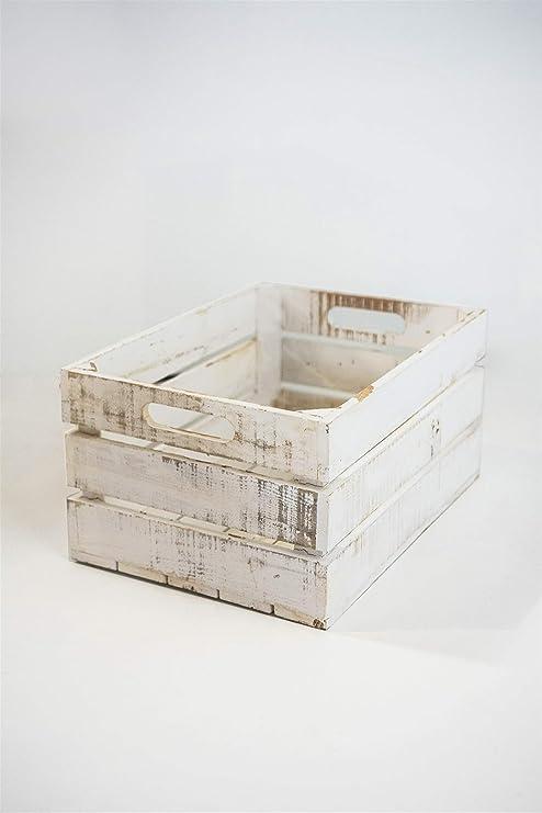 Caja Blanca Vintage de Almacenamiento con Asas Sam, Madera, Blanco Vintage,1 Unidad