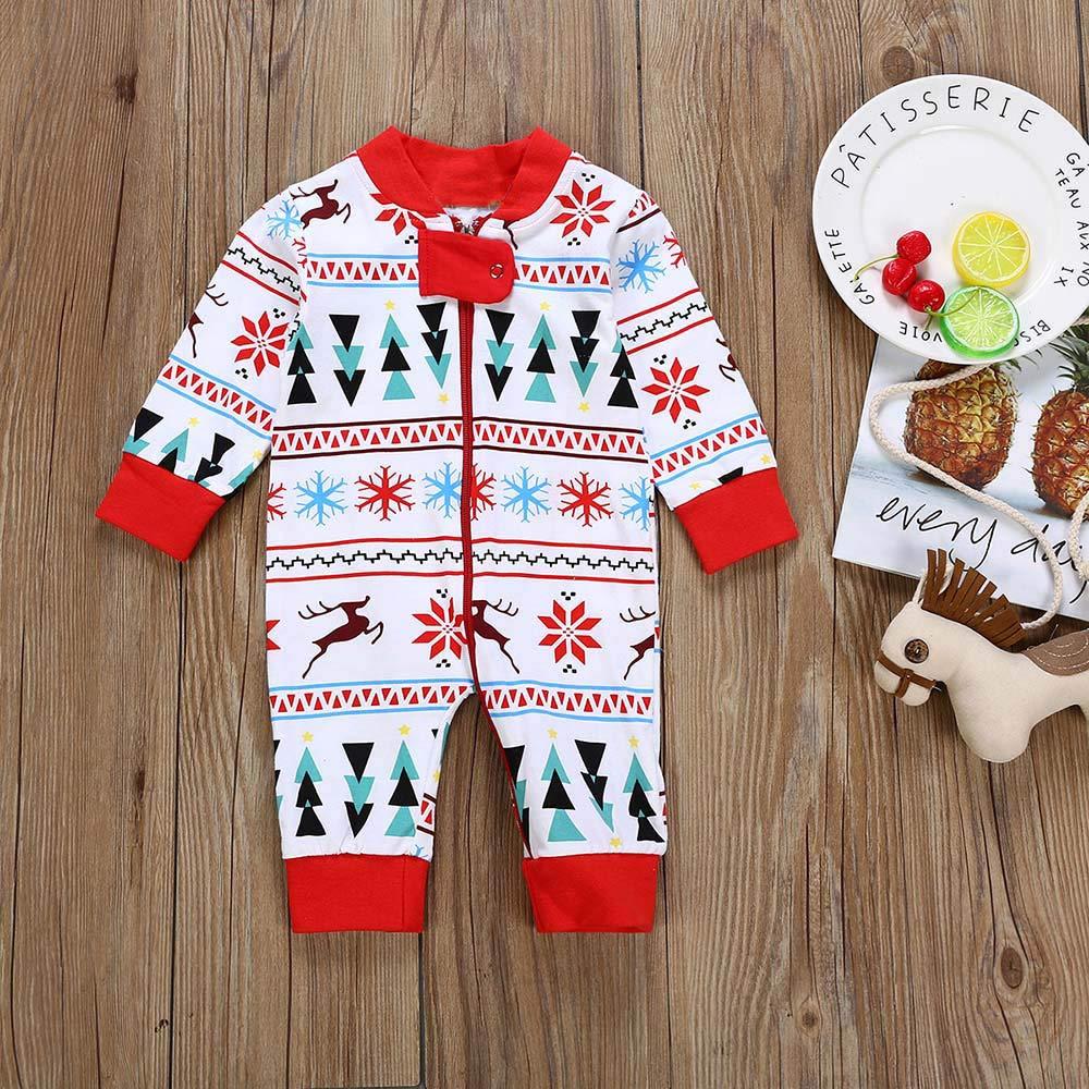Ansenesna Baby Weihnachten Strampler Kost/üm Jungs M/ädchen Baumwolle Soft Elegant Cartoon Langarm Jumpsuit