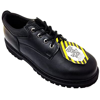 """Z-7426 Men's Steel Toe Work Boots Black Leather 4"""" Oxfords Oil Resistant Shoes Width: Wide (W or 2E) 