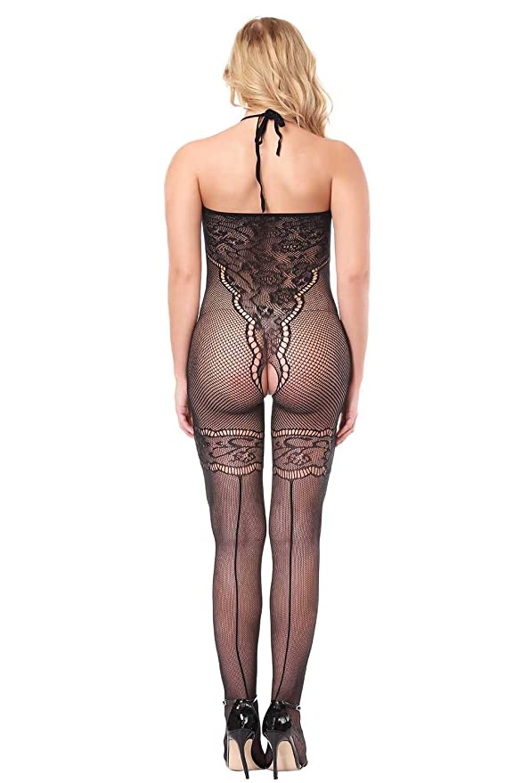 7123c0c5747 Amazon.com  evershare Women Sexy Lingerie Bodystocking Fishnet Floral  Crotchless Hole Front Bodysuit For Sex Red Black  Clothing