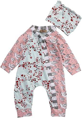 Newborn Baby Girl Clothes Flower Romper Jumpsuit Bodysuit Hat Outfit Set 2PCS