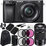 Sony Alpha a6300 Mirrorless Digital Camera with 16-50mm f/3.5-5.6 OSS Zoom Lens & E 55-210mm f/4.5-6.3 OSS E-Mount Lens (Black) 14PC Accessory Kit. Includes 2 Replacement FW-50 Batteries + More