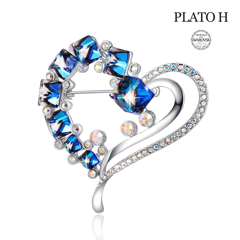 PLATO H Heart Brooch For Mom Blue Heart Shape Brooch, Love Heart Brooch With Swarovski Crystals, Women Fashion Jewelry GIfts