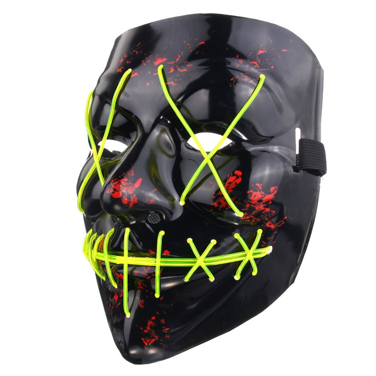 Ballylelly Drôle LED Light Up Flash Masque Halloween Party Night Club Festival Hommes Femmes Costume Cosplay LED Nouveautés Masque DJ Masque (Violet)