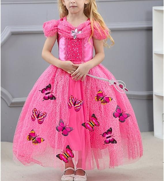 LiUiMiY Abito Costume Bambini Giallo Manica Corta Invernale Halloween Natale Vestito Principessa Bambina Carnevale