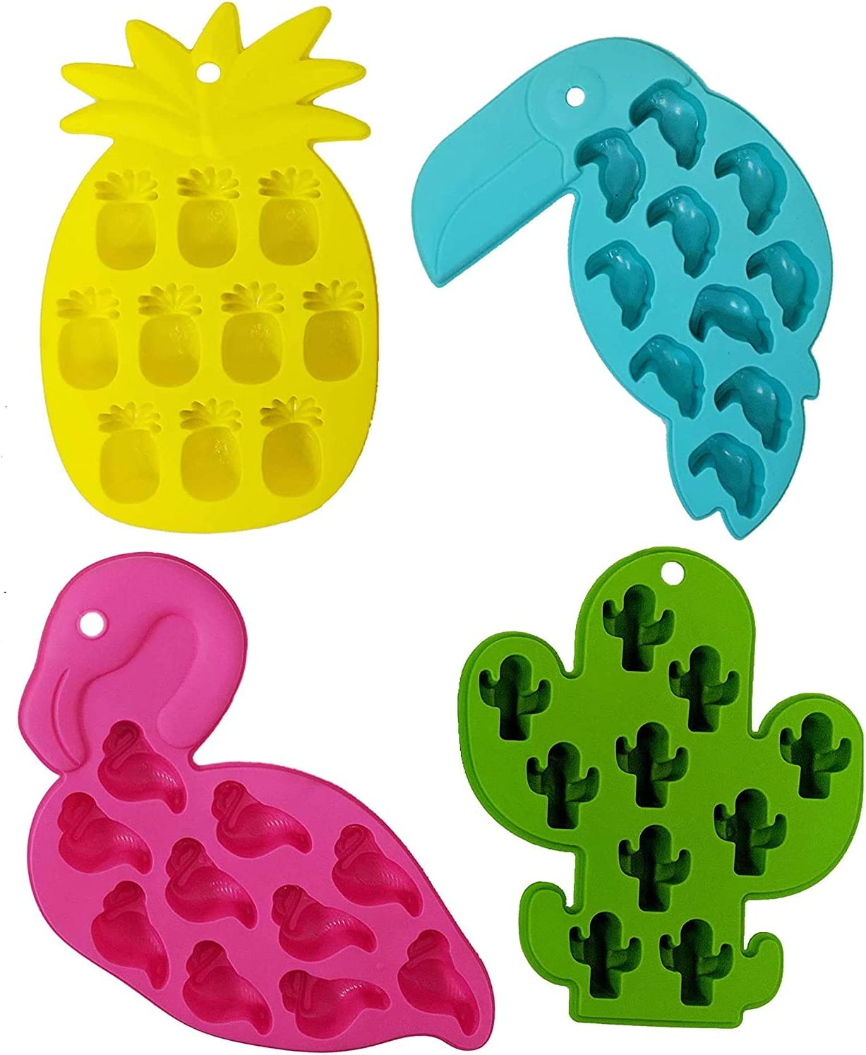 Candy Molds Silicone Chocolate Molds - Silicone Molds Including Cactus, Flamingo, Parrot, and Pineapple for Making Candy, Chocolate, Fruit Snack, or use as ice cube trays - Pack of 4