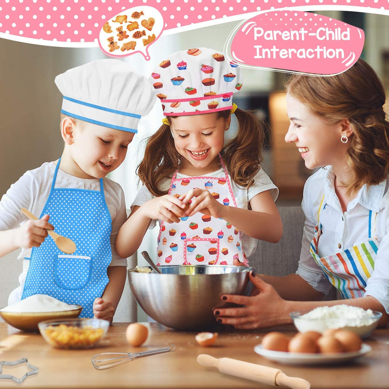 Blue Oven Mittand Baking Tools for Kids Cooking Girls Age 9-12 ATOPDREAM Kids Apron 11 Pcs Kids Cooking Supplies Includes Baking Set Chef Hat and Apron for Girls