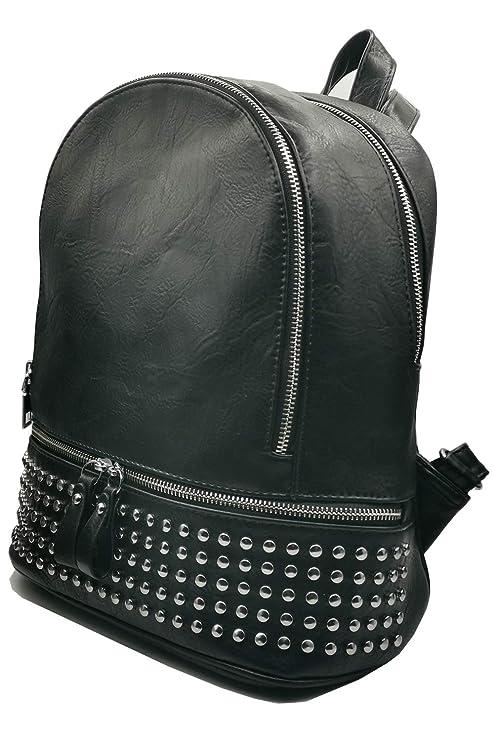 miglior servizio e43bf aafda Zaino da donna in pelle nero con borchie, zainetto elegante borchiato,  fashion e alla moda, design classico e di tendenza