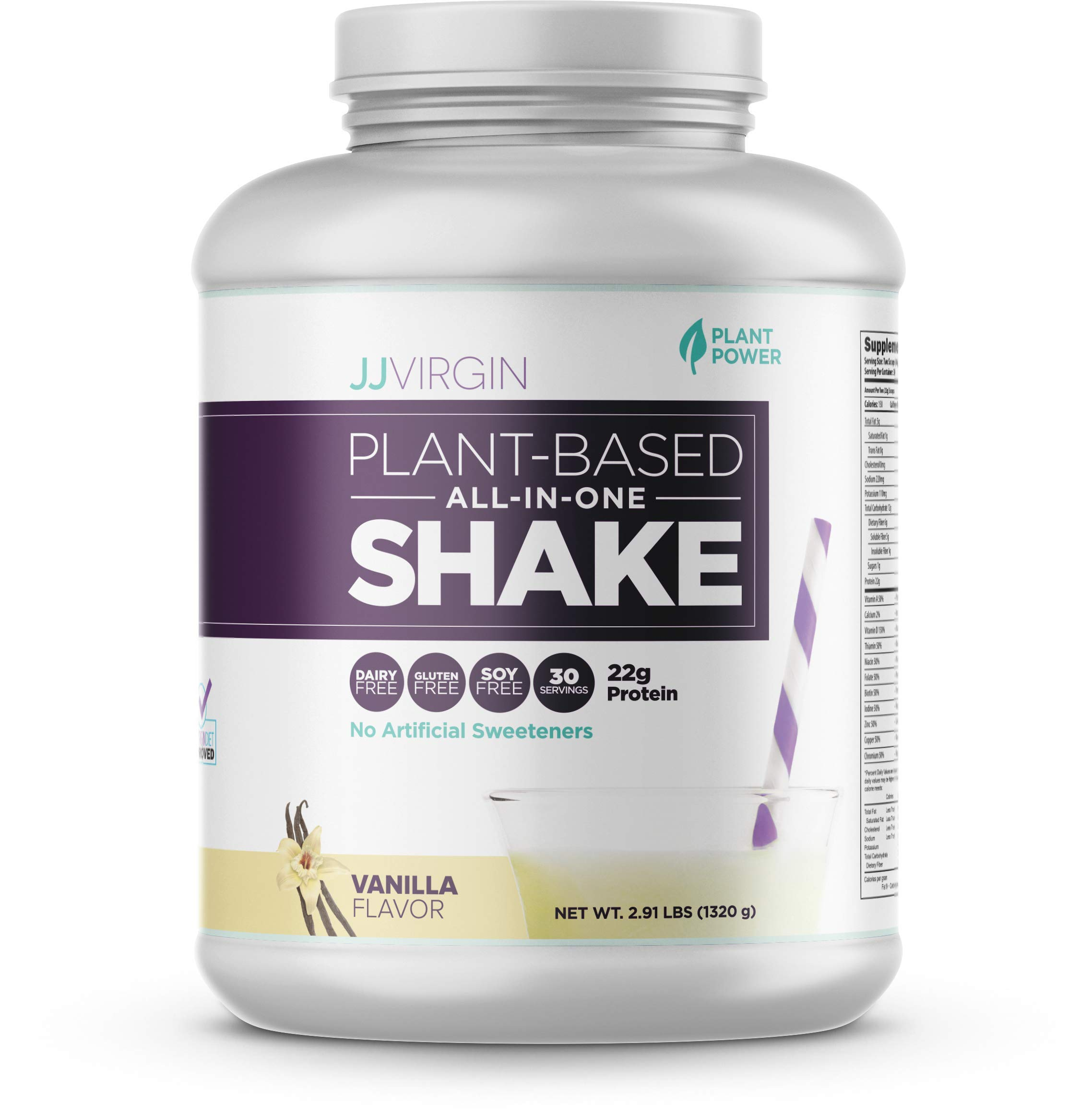 JJ Virgin Vanilla Plant-Based All-in-One Shake - Vegetarian-Friendly Protein Powder (30 Servings, 2.91 Pounds)