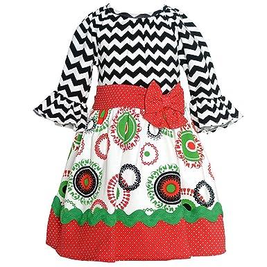 7b550093e Rare Editions Baby Girls Black White Chevron Round Motif Christmas Dress 12M