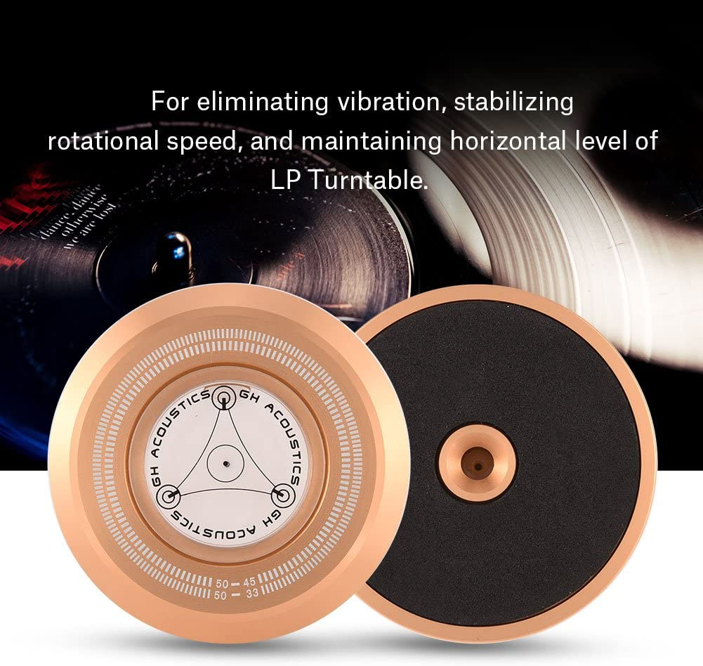 Socobeta Record Weight Turntable 50Hz Turntable Disc Record Stabilizer Clamp with Bubble Level for LP Vinyl Record Player Silver