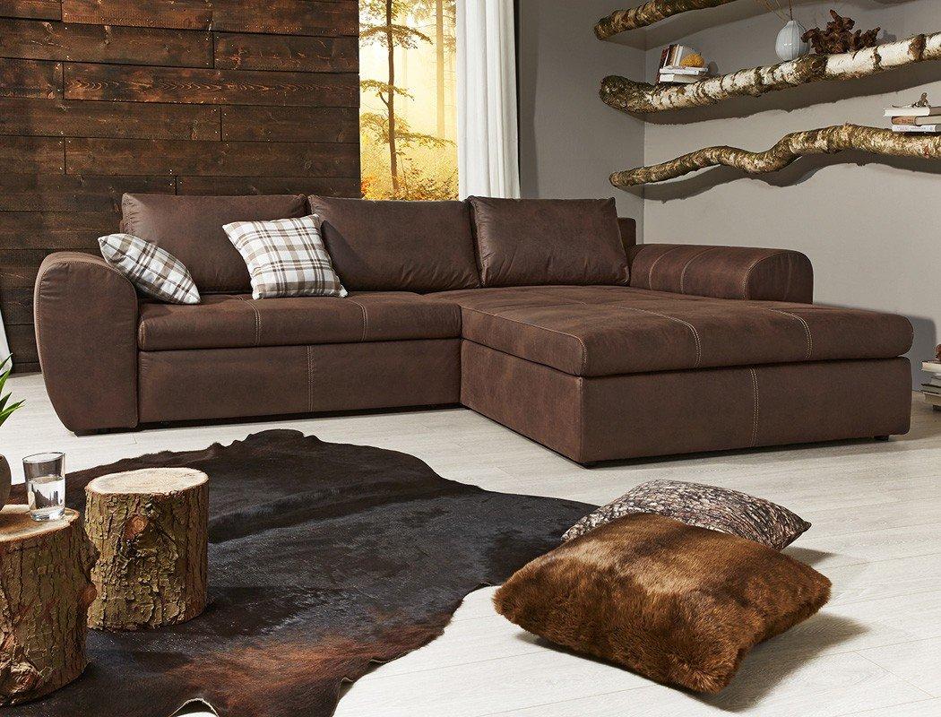 wohnlandschaft cassia 290x213cm braun antiklederoptik couch sofa polsterecke schlafsofa g nstig. Black Bedroom Furniture Sets. Home Design Ideas