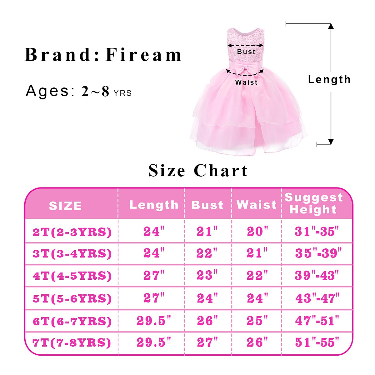 Fiream Flower Girls Dresses Tulle Sleeveless Princess Pageant Wedding Party Dresses(pink,3T/3-4YRS) by Fiream (Image #7)
