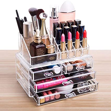 Cq Acrylic 4 Drawers And 16 Grid Makeup Organizer With Cosmetic Storage Cases The Top Of The Almighty As A Display Make Up Brush And Lipstick