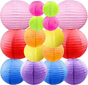 CosyVie 16 Pcs Colorful Paper Lanterns Decorative 10inch/8inch/6inch/4inch Multicolored Hanging Paper Lanterns for Home Decor, Parties, and Weddings Decoration (Multicolor)