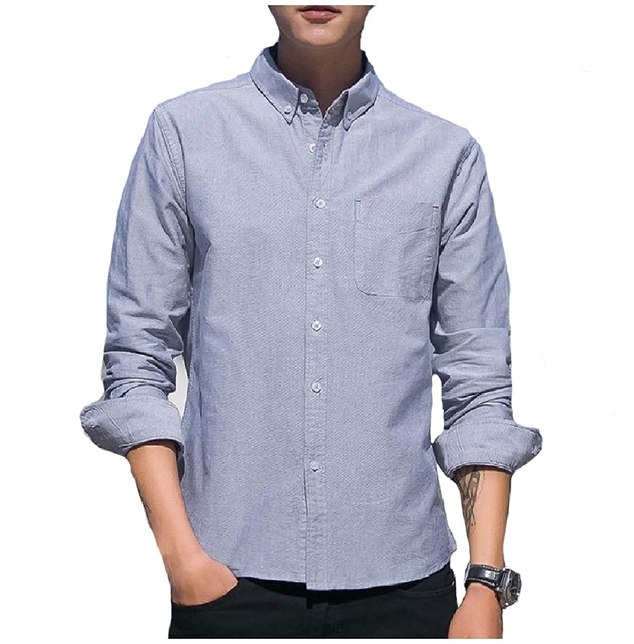 Abetteric Men Solid Color Point Collar Long Sleeve Back Cotton Work Shirts