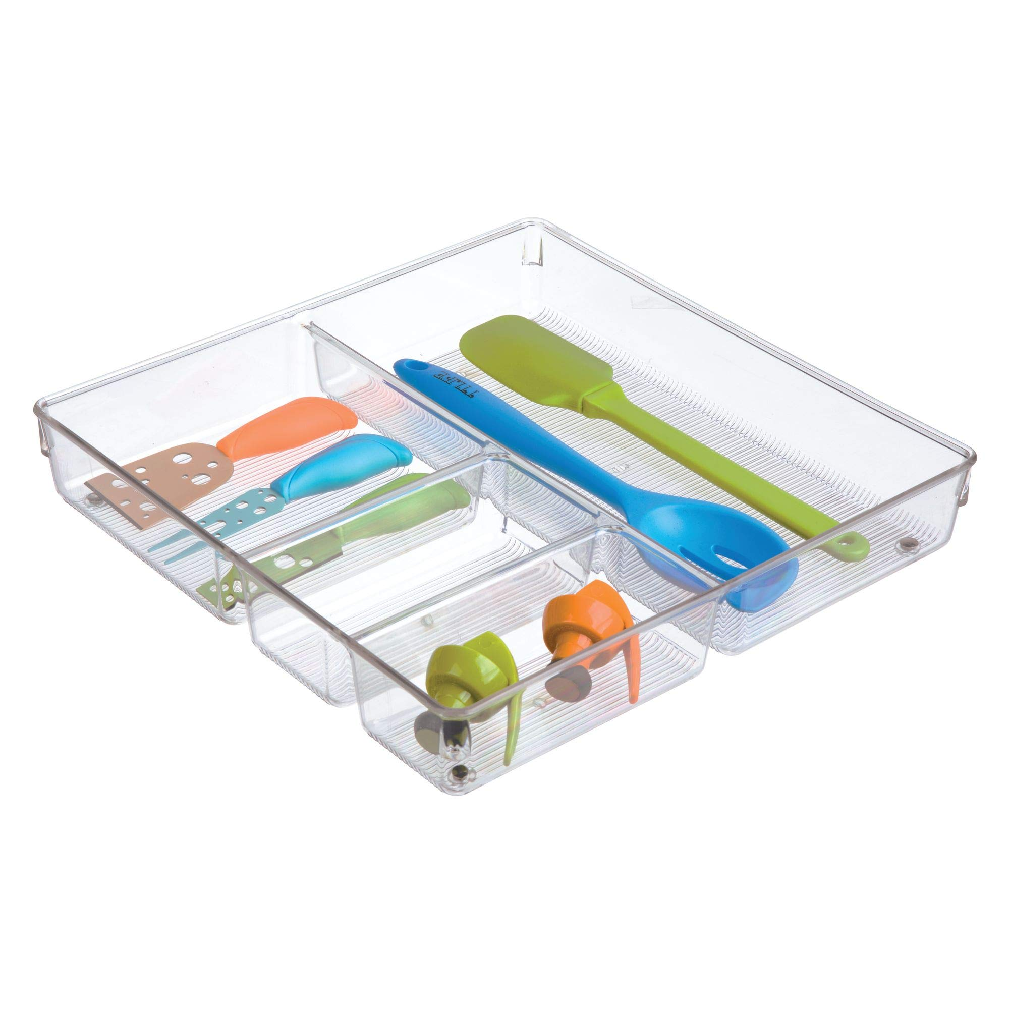 InterDesign Linus Plastic Grand Divided Organizer, Storage Container for Kitchen, Vanity, Bathroom Drawers, 12'' x 12'' x 2'' Clear by InterDesign (Image #3)