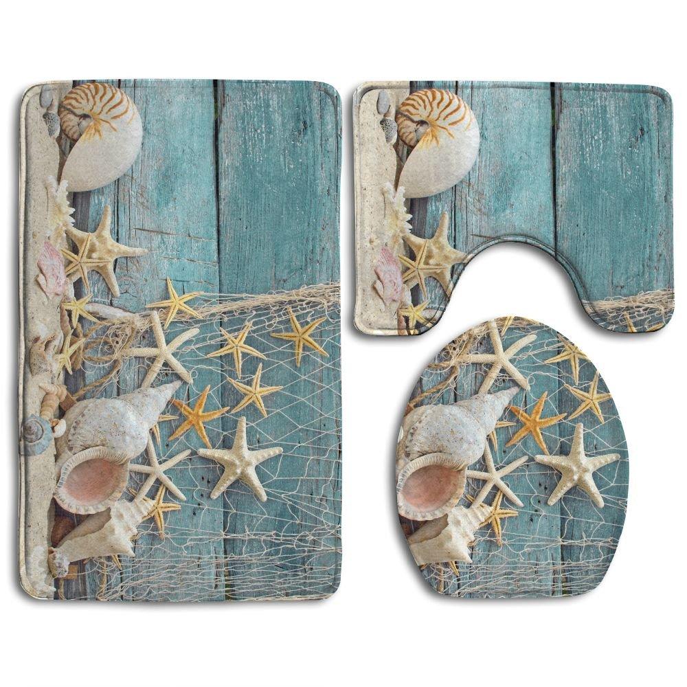 DING Beach Seashells Starfish Sand Soft Comfort Flannel Bathroom Mats,Anti-Skid Absorbent Toilet Seat Cover Bath Mat Lid Cover,3pcs/Set Rugs
