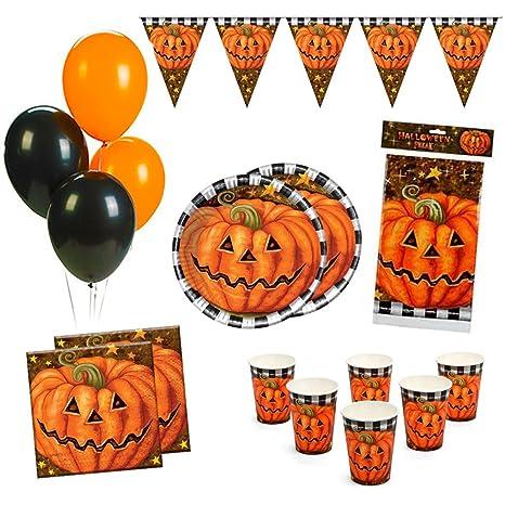 Kit Party Festa in Tavola Halloween con Zucca per 12 persone (1 Tovaglia 951e68defb8b