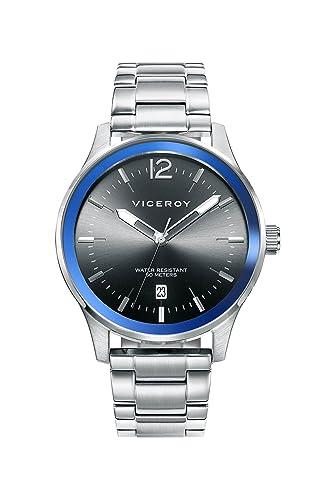 Viceroy Reloj Analogico para Hombre de Cuarzo con Correa en Acero Inoxidable 471137-55: Amazon.es: Relojes