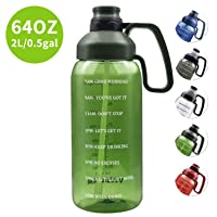 64 OZ Water Bottle with Straw, Motivational Water Bottle with Time Marker Clear...