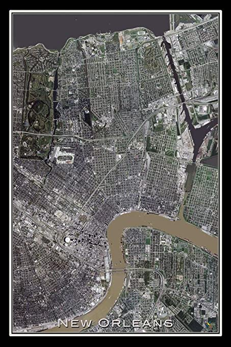 Amazon Com New Orleans Louisiana From Space Satellite Poster Map M
