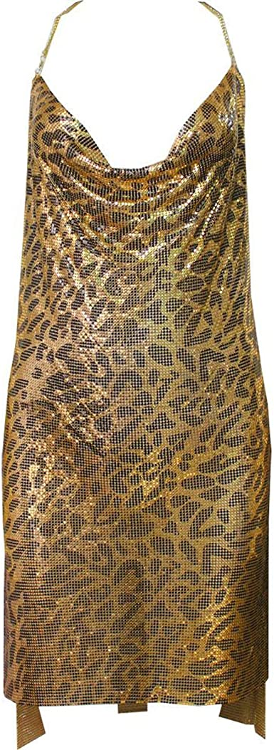 Sex Women Party Dress Red Spaghetti Strap Sheath Hollow Out Spark Diamond Halter,Gold,S