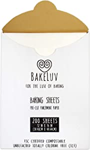BakeLuv Parchment Paper for Baking Sheets 12x16 Inches | White 200 Pcs | PreCut Non-Stick Unbleached | Ideal for Half Sheet Baking Pan | 266 Sq. Ft. Equivalent