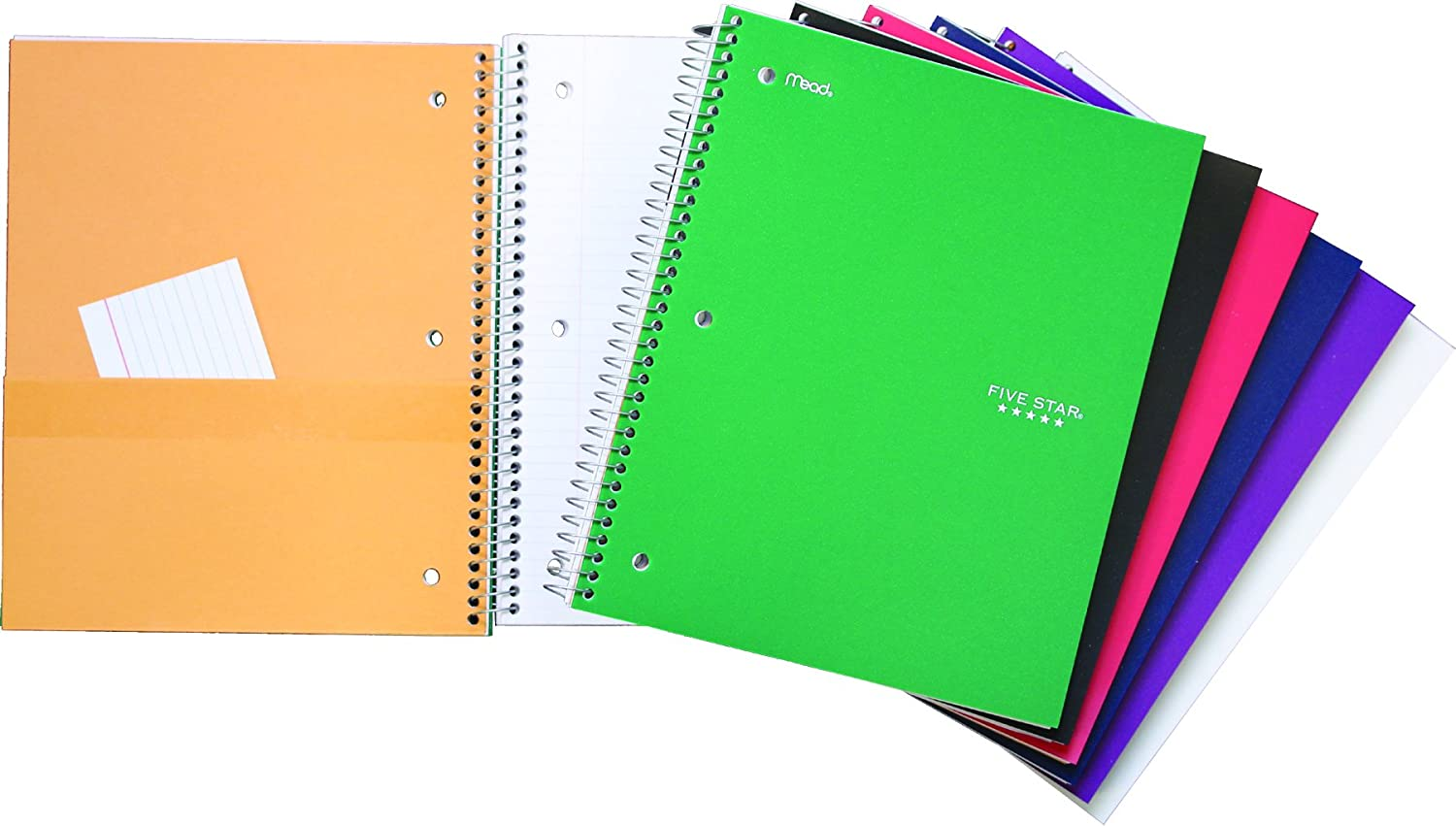 Five Star 05044 Poly Cover Notebook, 2 Subject, College Ruled, 10-1/2x8-Inch, 120-Sheets, Assorted Colors