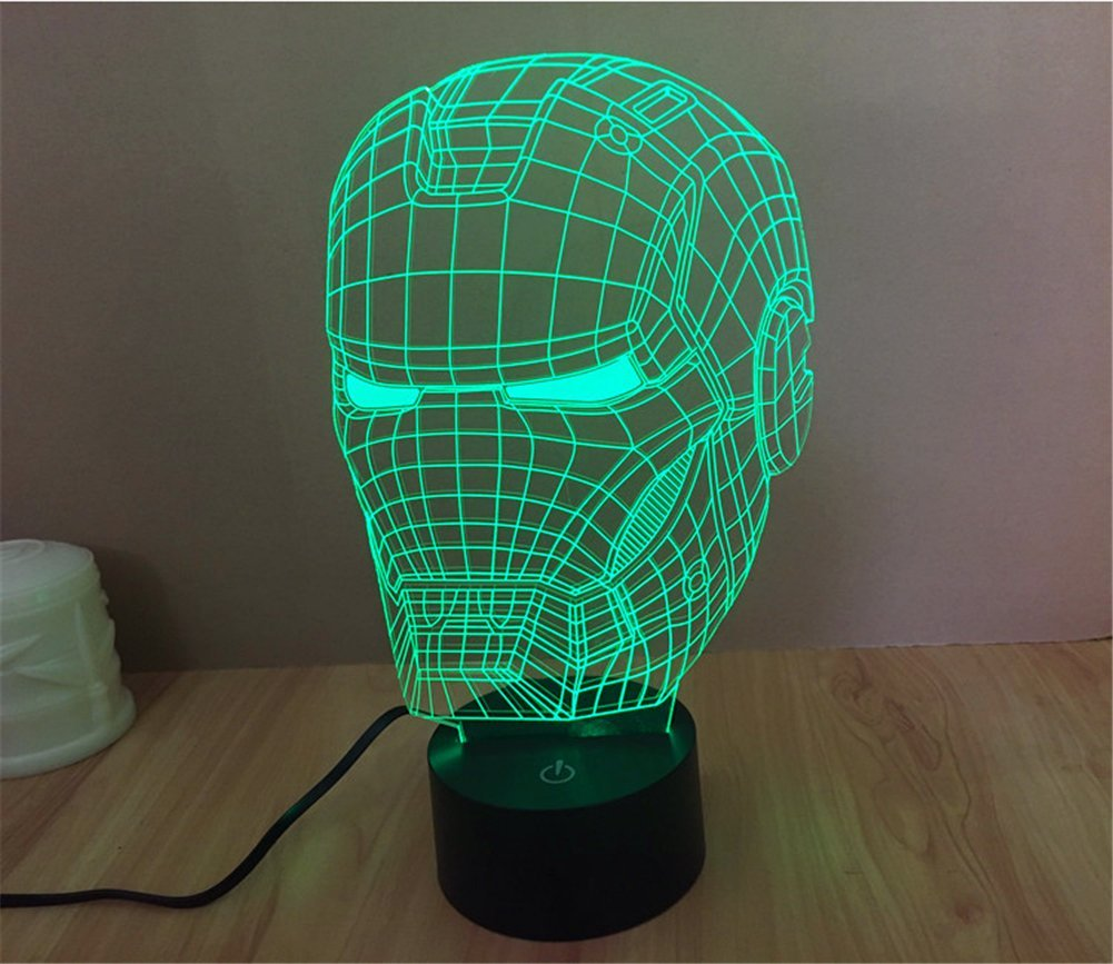 SmartEraR 3D Optical Illusion Iron Man Helmet Panel Model Lighting Night 7 Color Change USB Touch Button LED Desk Table Light Lamp Amazoncouk