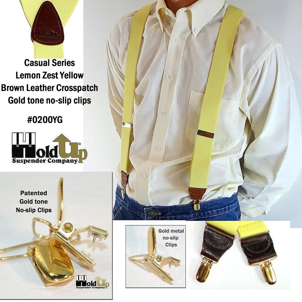Hold-Ups Lemon Yellow Suspenders 1 1/2'' wide in Y-back with No-slip Gold Clips by Hold-Up Suspender Co. (Image #2)